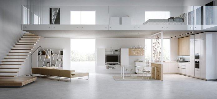 Двухуровневый дизайн апартаментов