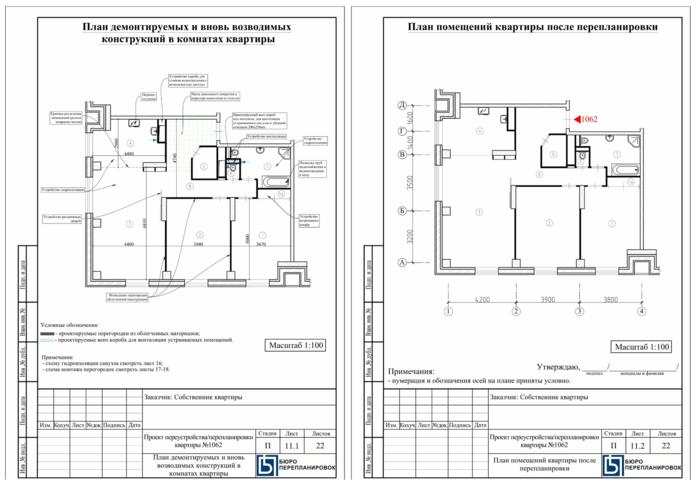 План перепланировки квартиры для перевода из жилого в нежилое помещение