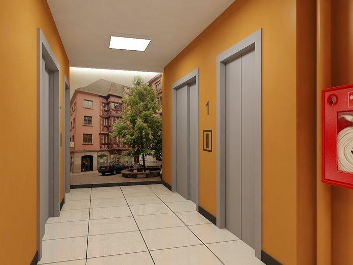 Красивый подъезд с желтыми стенами