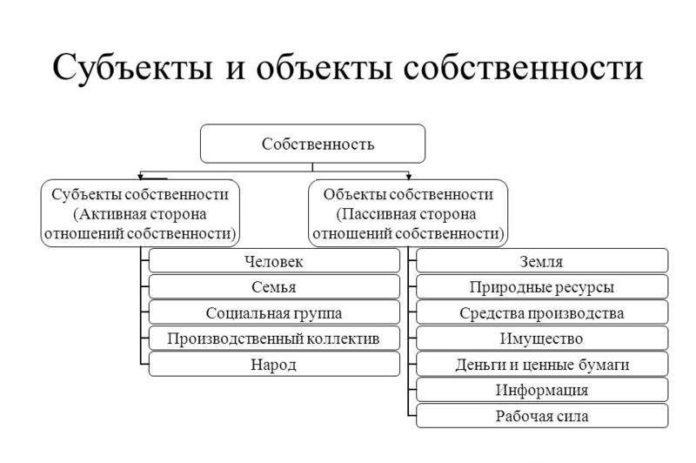 Субъекты и объекты собственности